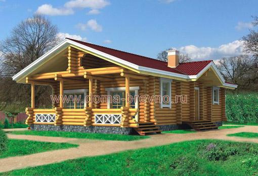 Дом одноэтажный из оцилиндрованного бревна проект