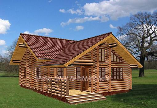 Проект одноэтажного дома из бревна