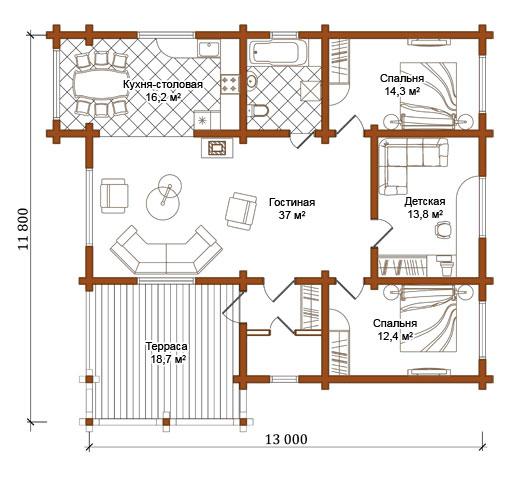 Одноэтажный дом из бревна о 134